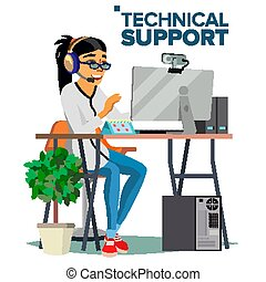 Technical Support Vector. Online Operator. Specialist Ready To Solve Problem. Flat Isolated Illustration