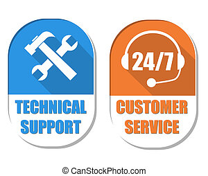 technical support with tools sign and 24/7 customer service with headset symbol, two elliptic flat design labels with icons, business attendance concept