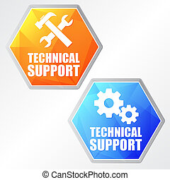 technical support with tools sign and gear wheels, two colors he