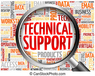 Technical support word cloud with magnifying glass, business...