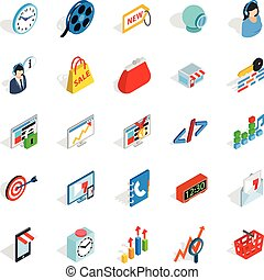 Technical trifle icons set, isometric style - Technical...