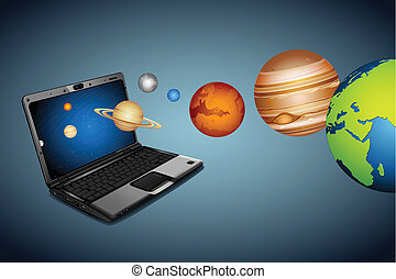 illustration of planets coming out of notebook