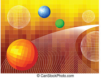 Technical vector background with curves