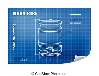 Technical wireframe Illustration with beer keg drawing on the blueprint