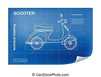 Technical wireframe Illustration with scooter drawing on the blueprint