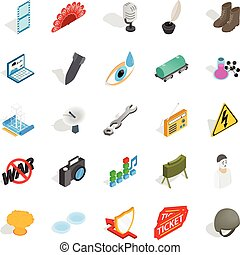 Technical work icons set, isometric style