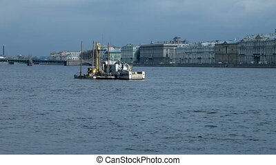 Technical work in the middle of Neva river....