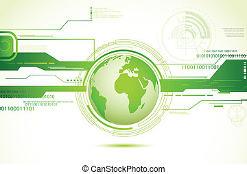 Technical World - illustration of globe on abstract...