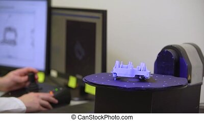 technically professional machine for 3D scanning and measurement of plastic moldings using a laser