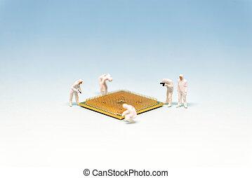 Technician analysis CPU microprocessor. Technology concept