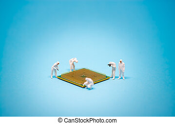 Technician analysis CPU microprocessor