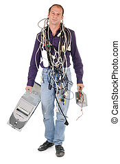 man tangled with cables having problem with his computer