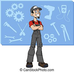 Illustration of cartoon generic technician on background with work tools.