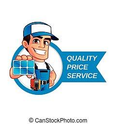 Technician installer of solar panels