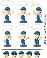 Technician or Repairman Mascot 17 - A vector set of a male...