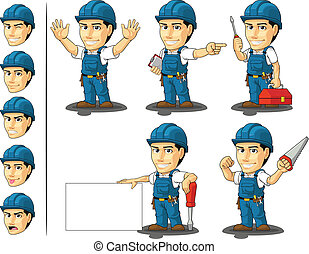A vector set of a male repairman in several poses. Drawn in cartoon style, this vector is very good for design that need technician/repairman element in cute, funny, colorful and cheerful style. Available as a Vector in EPS8 format that can be scaled to any size without loss of quality. Elements ...