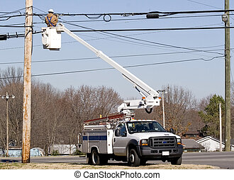 Technician working 2 - Cable technician working on ...