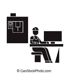 Technician workplace black vector concept icon. Technician workplace flat illustration, sign, symbol