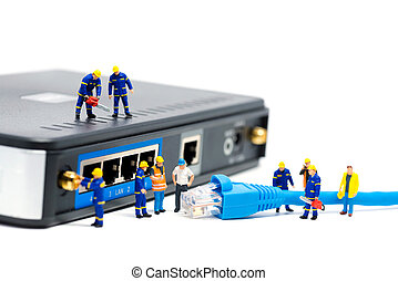 Technicians connecting network cable. Network connection concept