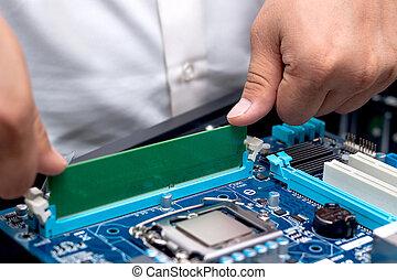technician's, mani, installare, utente, memoria, su, uno, computer, main-board
