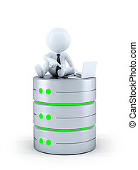 Technicians with laptop on top of the database. Isolated on...