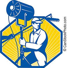 technicien, électrique, éclairage, équipage