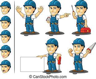 technicien, 2, réparateur, ou, mascotte
