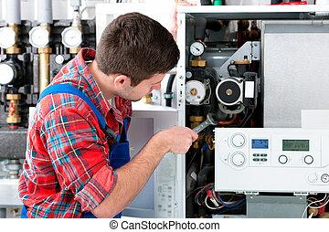 technicien, chauffage, chaudière, entretenir