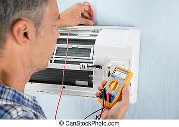 technicien, climatiseur, essai, air
