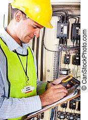 technicien, enregistrement, machine, température