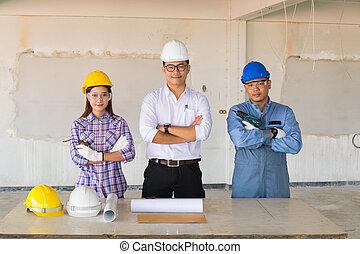 technicien, entrepreneur, équipe, ingénieurs