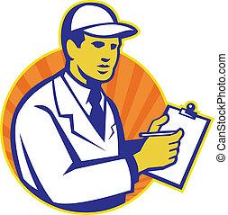 technicien, inspecteur, presse-papiers, ouvrier, retro