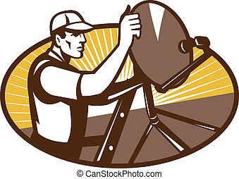 technicien, installation, satellite, ouvrier