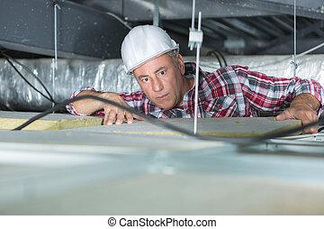 technicien, installed, télécommunication, équipement, sur,...