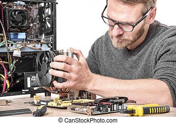 technicien, installs, refroidissement, informatique, system.