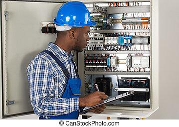 technicien, mâle, presse-papiers, tenue