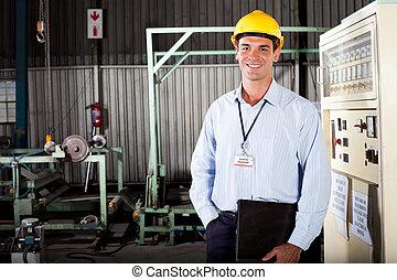 technicien, mâle, usine, heureux