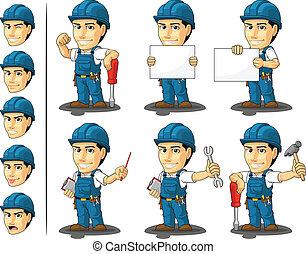 technicien, ou, réparateur, mascotte