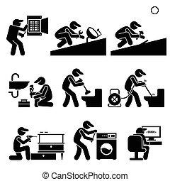 technicien, plombier, électricien