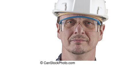 technicien, portrait, isolé