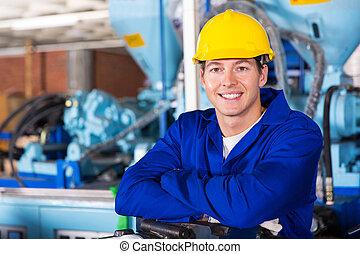 technicien, portrait, mâle