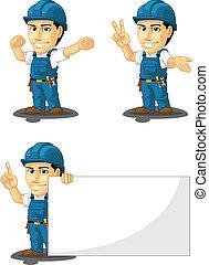 technicien, réparateur, ou, 7, mascotte