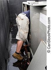 technicien, réparation, hvac