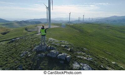 technicien, station, bourdon, générateurs, turbine, vent, ...