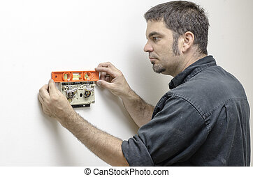 technicien, thermostat, niveler