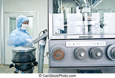 techniciens, fonctionnement, dans, les, pharmaceutique, ligne production