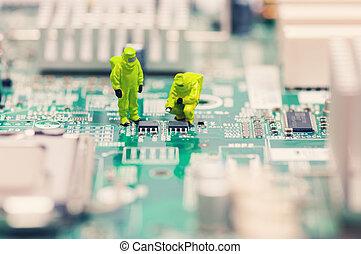 techniciens, réparation, circuit électronique