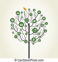 Technics on a tree. A vector illustration