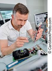 technicus, computer, werkende , componenten