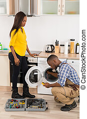 technicus, herstelling, wasmachine